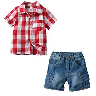 Ensemble de vêtements de bébé, Toddler enfants bébé garçon rouge Plaid T Shirt Tops + Shorts Jean Pantalon 2 Pcs Tenues