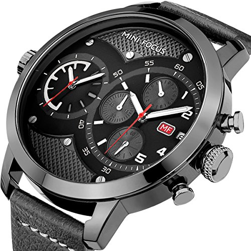 Mini Focus Big Black Dial Dual Time Chronograph Sport Men Watch with Date Automatic Calendar and Genuine Leather Band (Dual Time Chronograph)