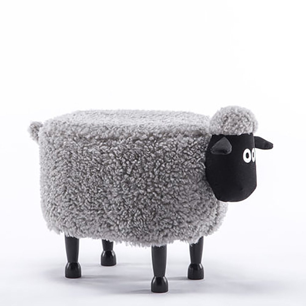 D&L Children Animals Sheep Footstool, Ottoman Creative Cute Stool For Kids 4 Legs Solid Wood Upholstered Shoe Stool-gray L64xW37xH46cm by D&L