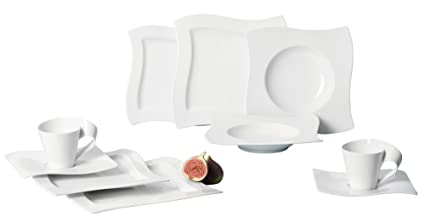 Villeroy u0026 Boch New Wave 30-Piece Basic Dinnerware Set White  sc 1 st  Amazon.com & Amazon.com | Villeroy u0026 Boch New Wave 30-Piece Basic Dinnerware Set ...