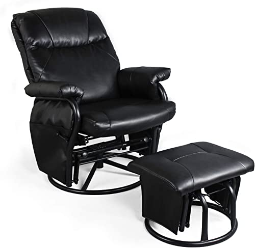 Recliner Chair with Ottoman Living Room Chairs Faux Leather Glider Chair 360 Degree Rotation Leisure and Relaxation Furniture Black