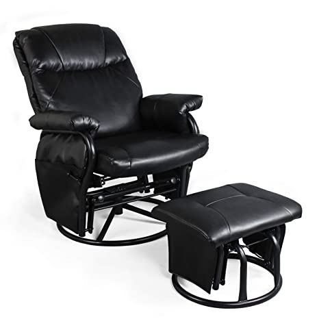 Remarkable Recliner Chair With Ottoman Living Room Chairs Faux Leather Glider Chair 360 Degree Rotation Leisure And Relaxation Furniture Black Andrewgaddart Wooden Chair Designs For Living Room Andrewgaddartcom
