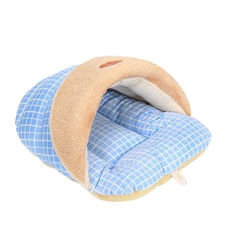 Wicemoon 1pcs Azul Nido de Mascotas Zapatilla Forma Caseta de Perro Cama Caliente para Perro Gato