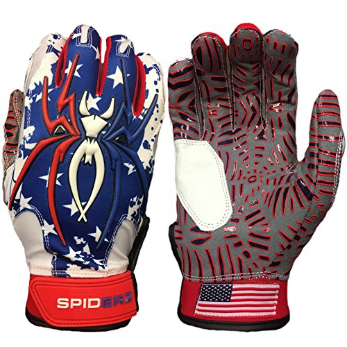 Spiderz USA Flag w/New Web Tac Grip Hybrid Baseball/Softball Batting Gloves w/Spider Web Grip and Protective Top Hand in Adult &Youth Sizes - Professional (PRO) Quality (Adult X-Large) ()