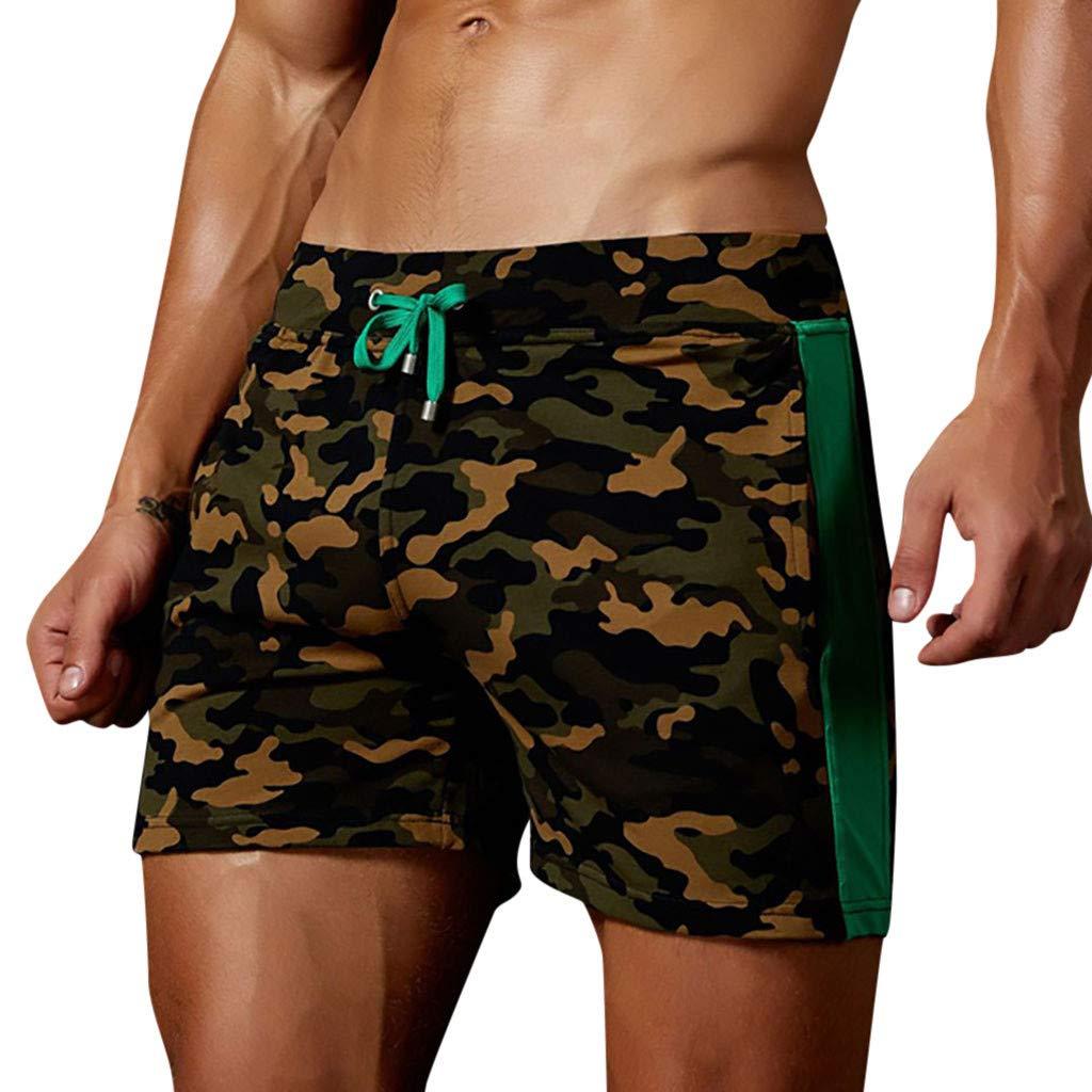 Cuekondy Men 2019 Summer Fashion Camouflage Swim Trunks Beach Board Shorts Casual Quick Dry Running Sports Short Pant(Army Green,S)