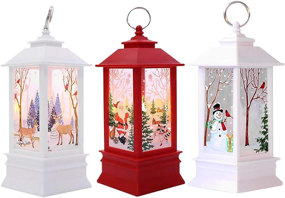 3PC Adornos Navidad Originales Rusticos con Luz LED Velas Decoracion para Mesa Casa - soolike