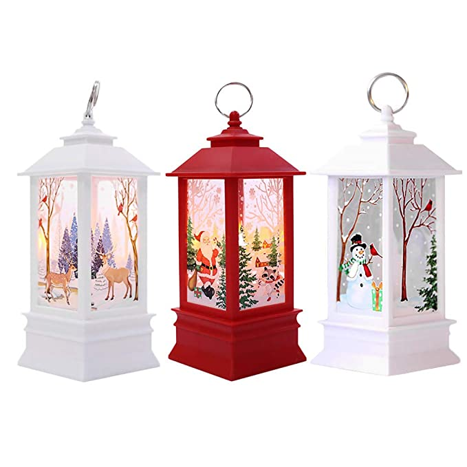3PC Adornos Navidad Originales Rusticos con Luz LED Velas