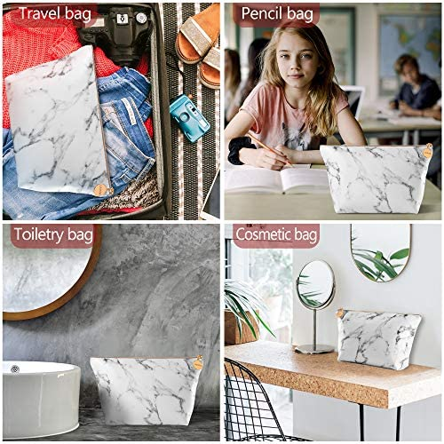 Marble Makeup Bag,Portable Cosmetic Bag Travel Tolietry Bag Large Makeup Pouch Waterproof Organizer Bag for Women Girls