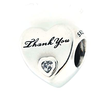 326b7c648 Image Unavailable. Image not available for. Color: Pandora Women's Thank You  Heart Charm ...