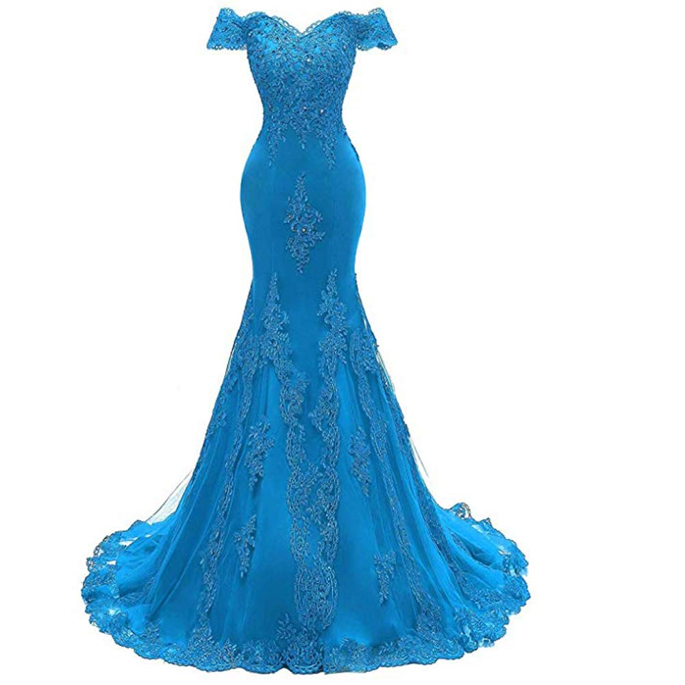 bluee yuanbaokj Women's Off The Shoulder Mermaid Prom Homecoming Evening Party Gowns Floral Long Dress
