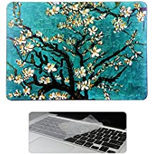 Rinbers 2 in 1 Art Fshion Print Soft Touch Rubberized Hard Shell Clip Snap On Case Cover with KB Cover for New MacBook Pro 13 inch 2016 w w/o Touch Bar Touch ID (Model:A1706 A1708) - Tree of Van Gogh