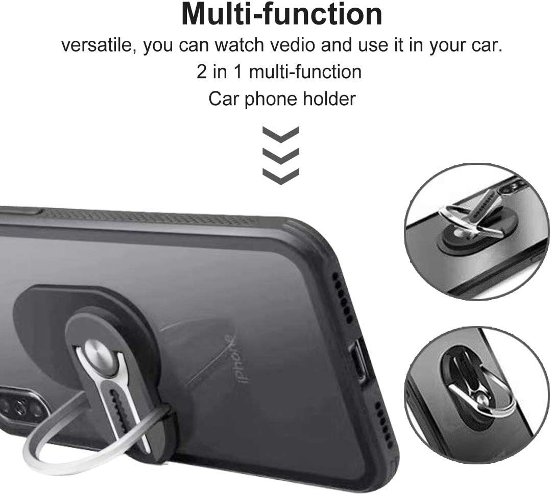 Multifunction Phone Bracket Black Phone Ring Holder Two in One Cell Phone Bracket Holder Stand 360 Degree Rotation for Car Phone Mount