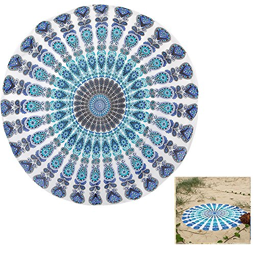 Price comparison product image YXTech Women Bohemian Round Beach Throw Blanket Tapestry Beach Towel Cover Up Wear (Light blue)