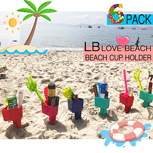 Beach Cup Holder Multifunction Beach Cup Holder Sand Grass Drink Holder for Beverage Phone Sunglasses Sunscreen Key Vacation Accessory Beach Gear 6-Pack(Random Color) ()