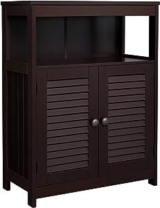 VASAGLE Bathroom Storage Floor Cabinet, Free Standing Cabinet with Double Shutter Door and Adjustable Shelf, Brown UBBC40BR