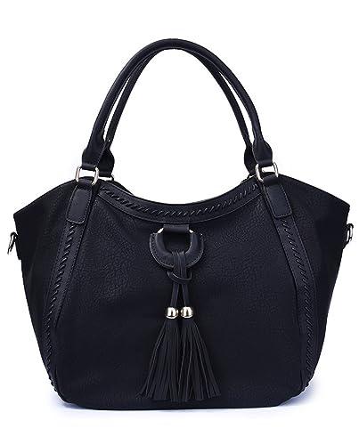 WOMJIA Large Capacity Fringe Women s Hobo Shoulder Bags Crossbody Handbag  Messenger Bag (Black) 385fec9aa313f