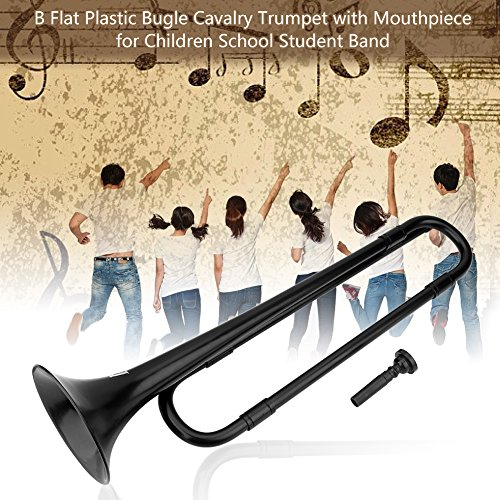 Plastic Trumpet Toy B Flat Trumpet Bugle Cavalry Trumpet Environmentally Friendly Plastic with Mouthpiece for Kids Band School Student(Black) by Vbestlife
