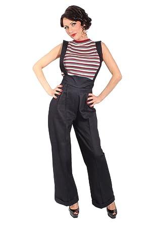 Hosenträger MARLENE Retro DENIM rockabilly jeans High Waist Hose ... 0b24525fd1