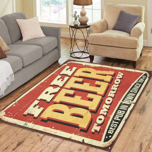 Pinbeam Area Rug Free Beer Tomorrow Vintage Tin Sign on Old Home Decor Floor Rug 3' x 5' Carpet