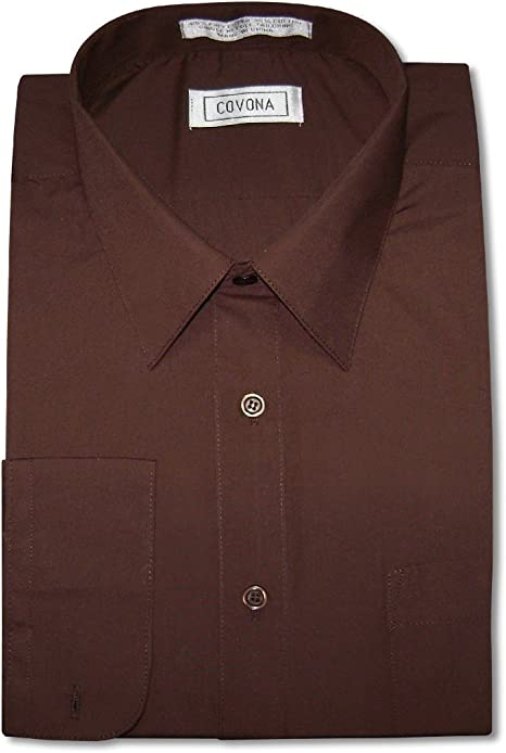 Men/'s Cotton Blend Dress Shirt with Tie and Handkerchief in 22 different colors