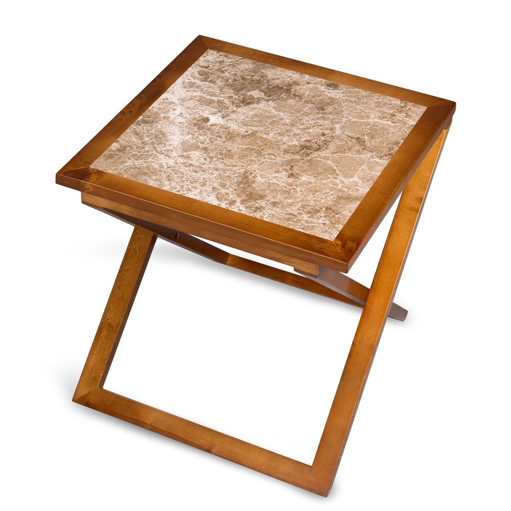 PrimaSleep Natural Marble Top Solid Wood Base X Coffee Table/ Side Table/ End Table/ Sofa Table/ Dining Table/ Vanity Table/ Computer Table/ Office Table, (Light Brown/Brown) by PrimaSleep