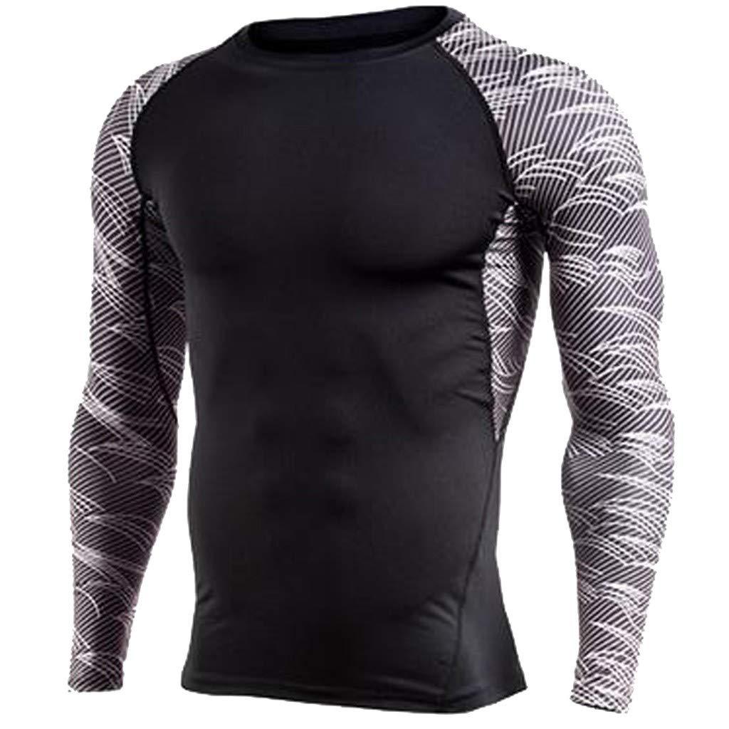 メンズ ポリエステル フィット 長袖 アスレチック モックシャツ トレーニングトップ ブラック ボディビルディング スキン アスレチック ランニング サイクリング タイツ XX-Large ブラック B07M9W7DH1