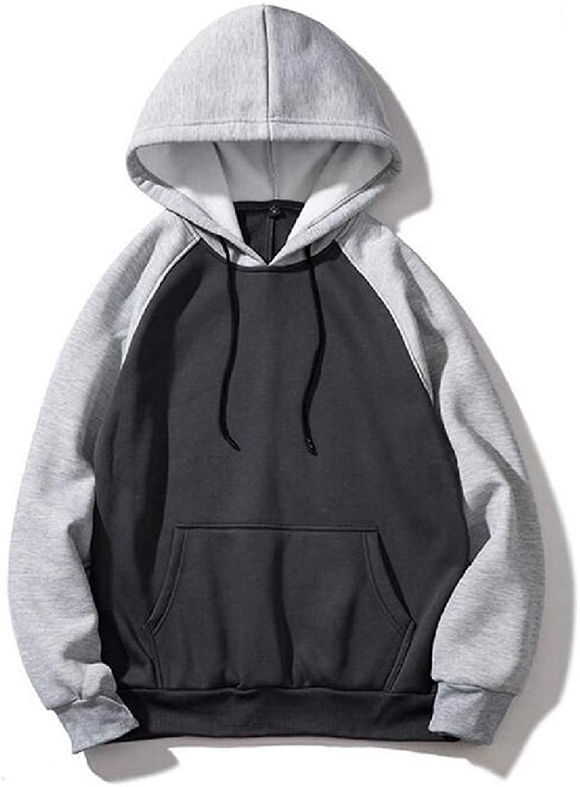 Abeaicoc Mens Pullover Loose Fit Drawstring Casual Pockets Contrast Hooded Sweatshirt