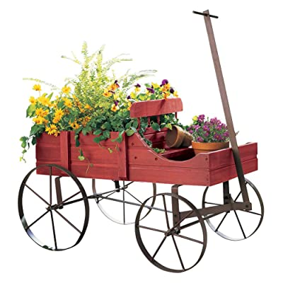Amish Wagon Decorative Indoor/Outdoor Garden Backyard Planter, Red : Garden & Outdoor