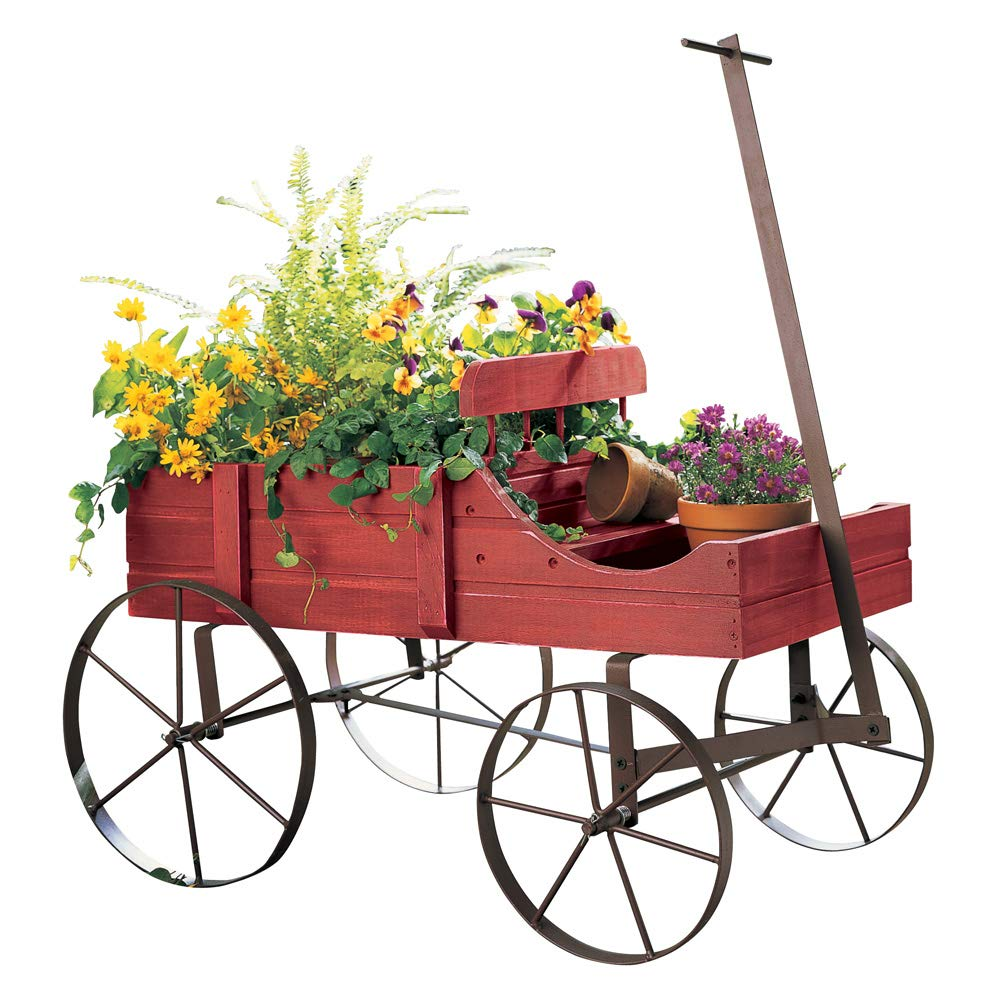 Amish Wagon Decorative Indoor/Outdoor Garden Backyard Planter, Red by Collections Etc (Image #1)