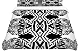 Kess InHouse Pom Graphic Design Africa Black White Twin Cotton Duvet Cover, 68 by 88-Inch