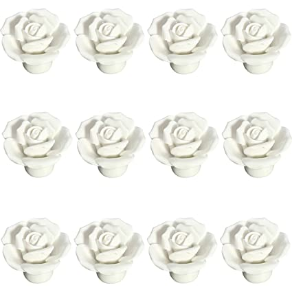 12pcs Pomelli Ceramica Rosa Maniglia Maniglie Per Porta ...