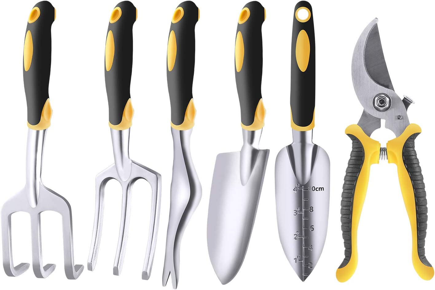 LARAH Garden Hand Tool Sets, 6Pcs Aluminum Heavy Duty Garden Hand Tool Kits for Weeding, Loosening Soil, Digging, Transplanting and More