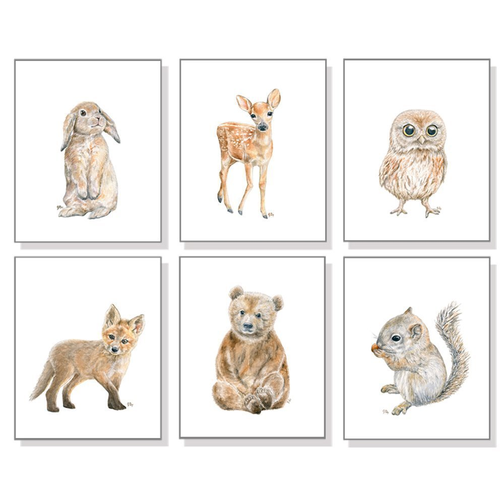Woodland Nursery Decor, Woodland Nursery Wall Art Prints Set of 6, Baby Woodland Animal Watercolors, Bear Deer Fox Bunny Owl Squirrel