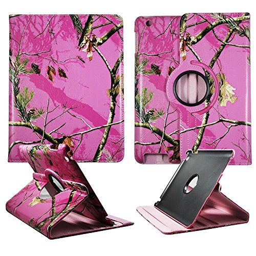 Pink Faceplate Cover - Pink Camo Maple Apple Ipad 2 / 3 / 4 PU (Poly) Synthetic Leather Folding Tablet 360 Rotating Case Cover Hard Phone Case Snap-on Cover Rubberized Touch Faceplates