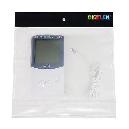 Digiflex Termómetro Digital para Interior y Exterior con 2 Sensores de Alarma para Tiempo y Temperatura - da