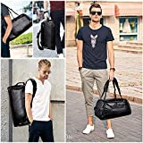 Leather Duffel Bag | Large Capacity Weekend Overnight Travel Gym Sport Luggage Tote for Men and Women – By (YOUR BRAND NAME) (vintage black)