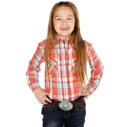 23717c33 Panhandle Girls Girls Coral/Aqua Plaid Long Sleeve Button Up Shirt