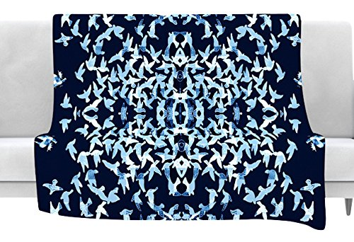 80 x 60 Fleece Blanket Kess InHouse Marianna Tankelevich Night Birds Blue Abstract Throw