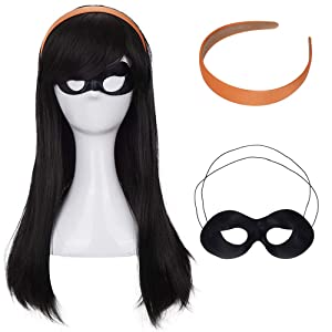 Morvally Long Black Straight Wig with Bang Cosplay Costume Halloween wigs with Orange Headband and Eye Mask for Kids Girls Women