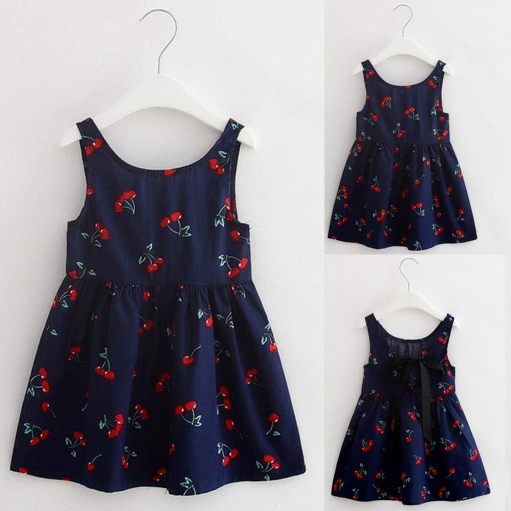 Toddler Baby Girls Princess Tank Top Dress Summer Beach Party Wedding Sundress Sleeveless Cotton Floral Mini Dress