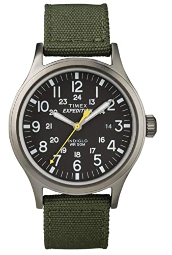 ccc108297e87 Timex Expedition Scout Black Dial Green Nylon Strap Gents Watch T49961   Amazon.co.uk  Watches