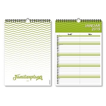 Familienkalender Wandkalender 2019 individuell A4 Zickzack Familienplaner