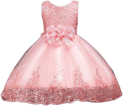 NNJXD Girl Sleeveless Lace 3D Flower Tutu Holiday Princess Dresses /…