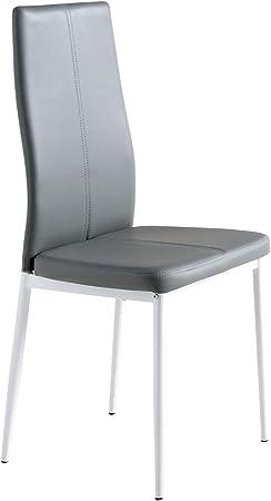 MOMMA HOME Set de 4 Sillas - Modelo LUCI - Color Gris/Blanco - Material Ecopiel/Metal -Sillas de Comedor