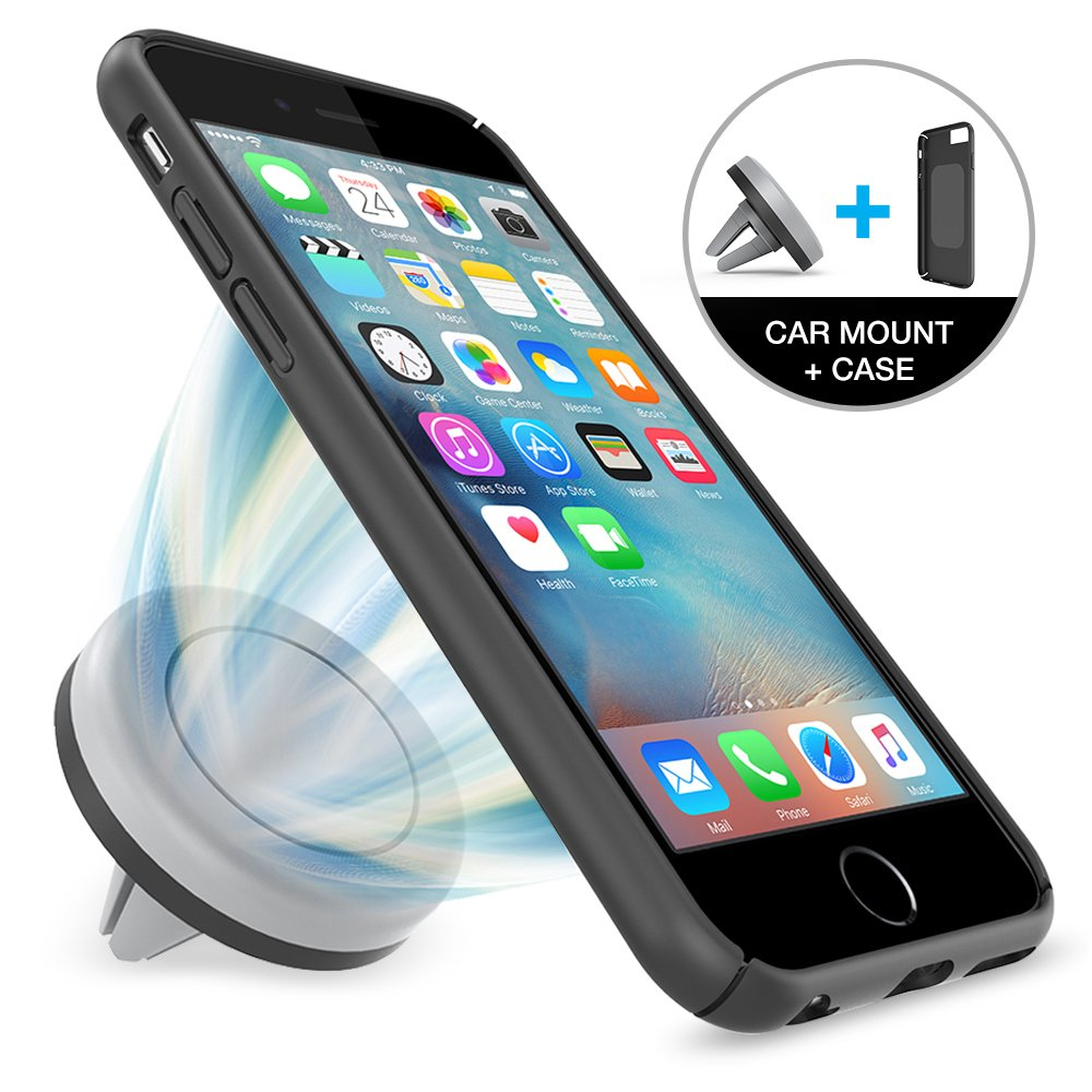 iphone 1000. amazon.com: car mount, maxboost iphone mount \u0026 6/6s case - [magnetic air vent + case][black/grey] holder and for iphone 1000