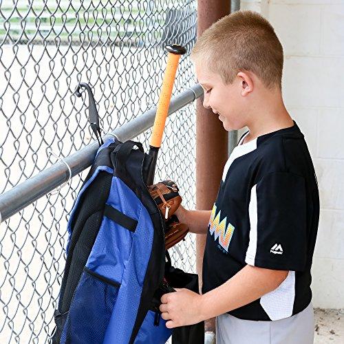 Athletico Youth Baseball Bat Bag - Backpack for Baseball, T-Ball & Softball Equipment & Gear for Boys & Girls | Holds Bat, Helmet, Glove | Fence Hook (Blue)