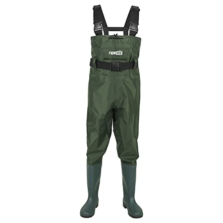 TideWe Bootfoot Chest Wader, 2-Ply Nylon PVC Waterproof Fishing Hunting Waders for Men and Women Green and Brown