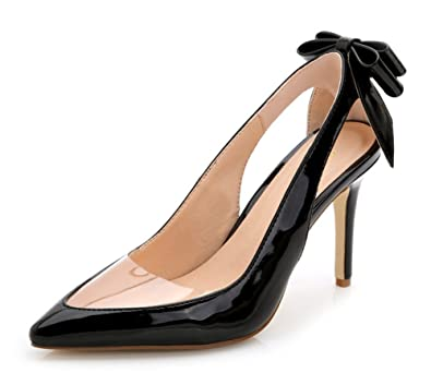 250a4f210975 Aisun Women s Stylish Cutout Patent Leather High Heel Dress Slip On Pumps  Pointed Toe Heels Party