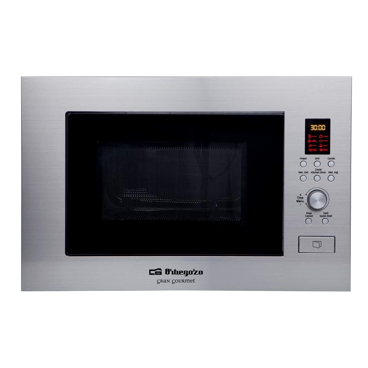 Orbegozo MIG 2330 - Microondas con grill integrable full INOX, 23 litros, 6 niveles de potencia, 8 menús de cocción automática, display digital, ...