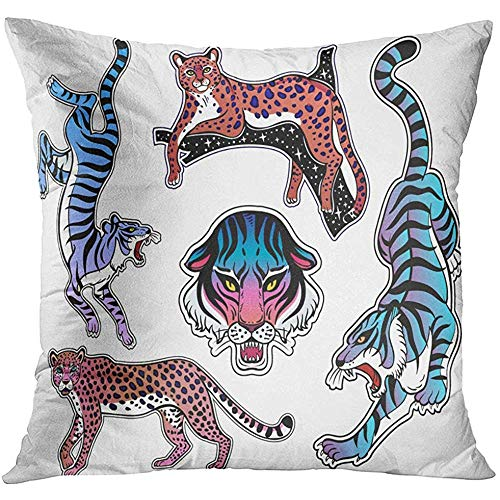 - Throw Pillow Cover Neon Pop Wild Cat Designs Flash Tattoo Patches Traditional Stickers Comic Pins Items Collection Decorative Pillow Case Home Decor Square 18x18 Inches Pillowcase